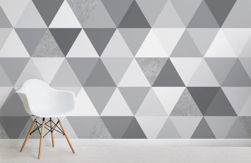 grey concrete texture triangle geometric wallpaper mural