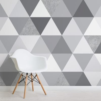 grey concrete texture triangle geometric wallpaper mural