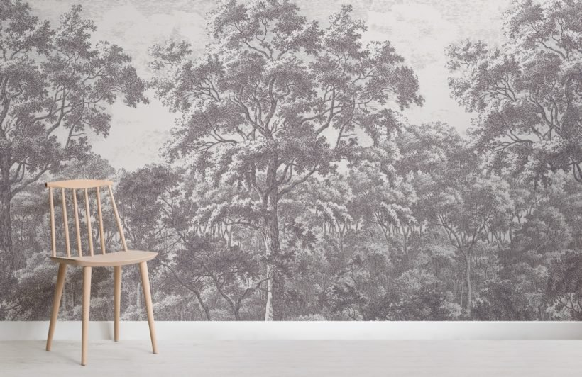 grey forest illustration etching wallpaper mural