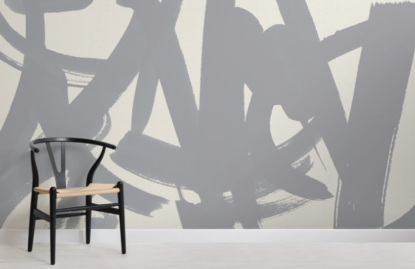 grey japanese calligraphy abstract wallpaper mural