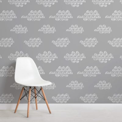 grey japanese clouds repeat pattern wallpaper