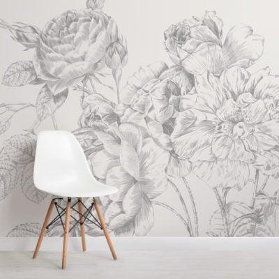 grey large illustrated roses wallpaper mural