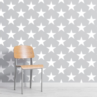 grey large star repeat pattern wallpaper