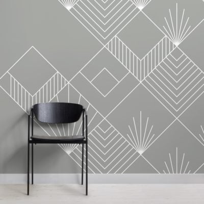 grey lines and squares art deco wallpaper mural