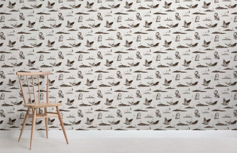 grey owl print pencil sketch wallpaper mural