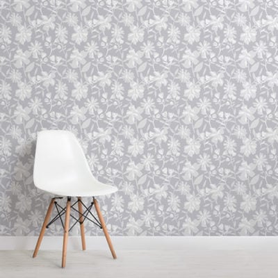 grey tones floral repeat pattern wallpaper
