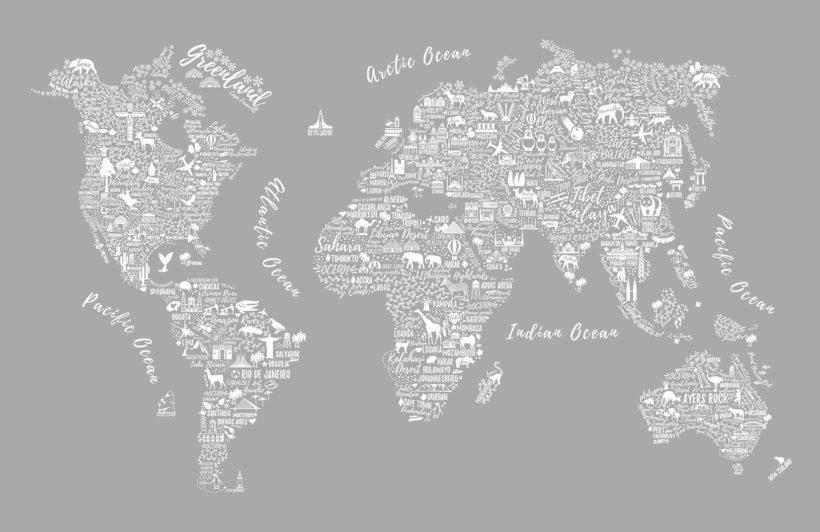 Grey Typography Map