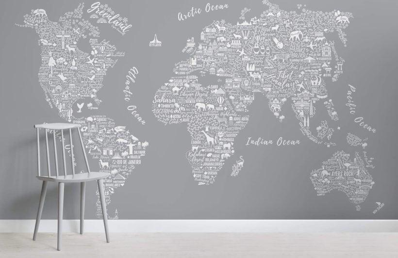 Grey Typography Map Room