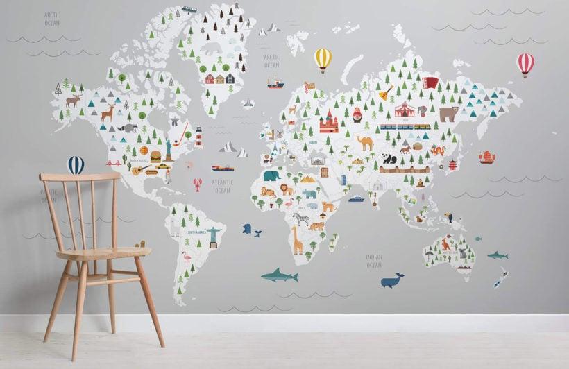 Grey ultimate kids map - maps - room - wall mural