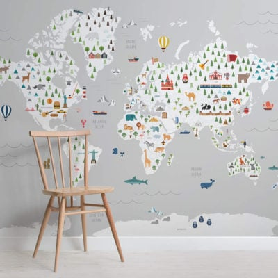 Grey ultimate kids map - maps - square - wall mural