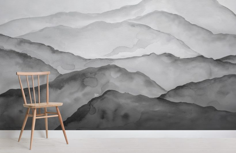 grey watercolour peaceful mountain wallpaper mural