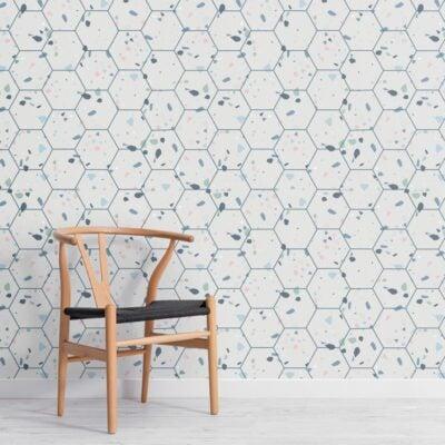 hexagon-tile-terrazzo-pattern-wallpaper-mural