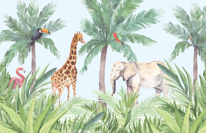hidden paradise-nursery-plain-wall mural-kj