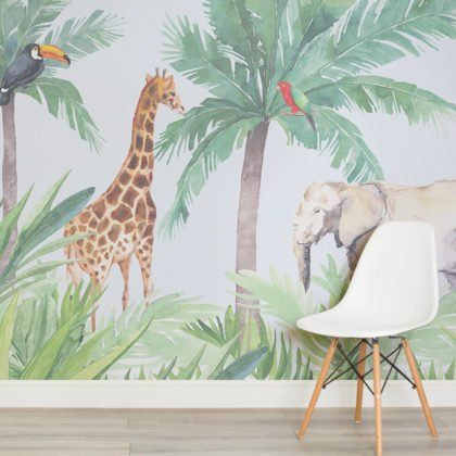 Watercolour Jungle Nursery Wallpaper Mural Image