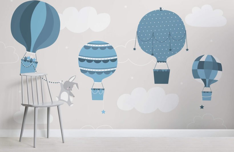 kids-blue-bunny-and-balloons-nursery-room-wall-mural