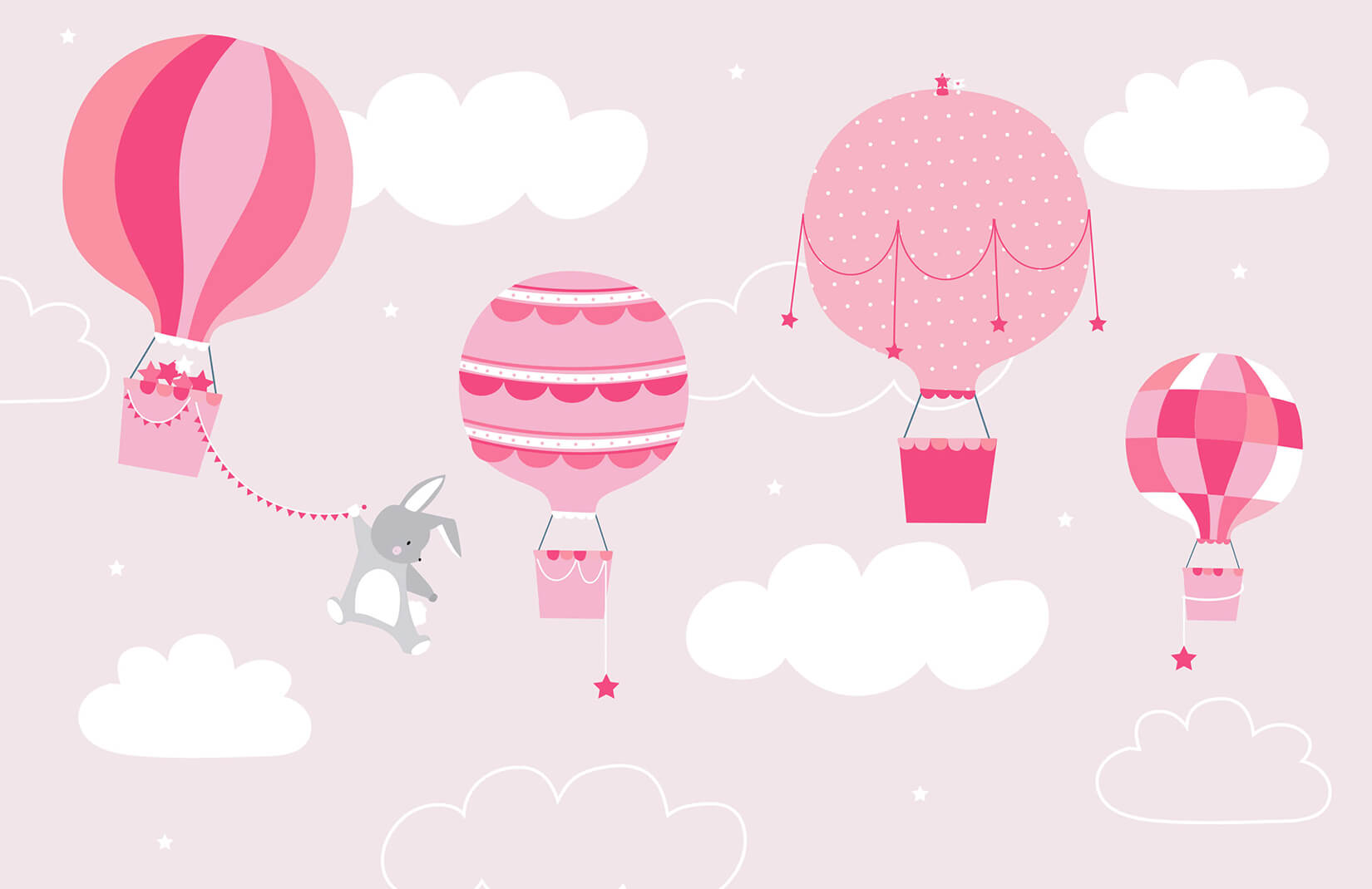 Kids Pink Bunny & Balloons Wallpaper ...