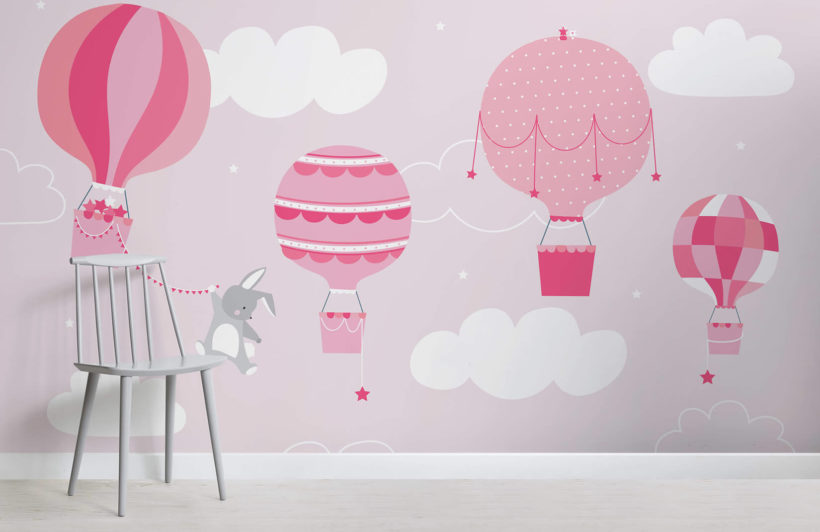 kids-pink-bunny-and-balloons-nursery-room-wall-mural