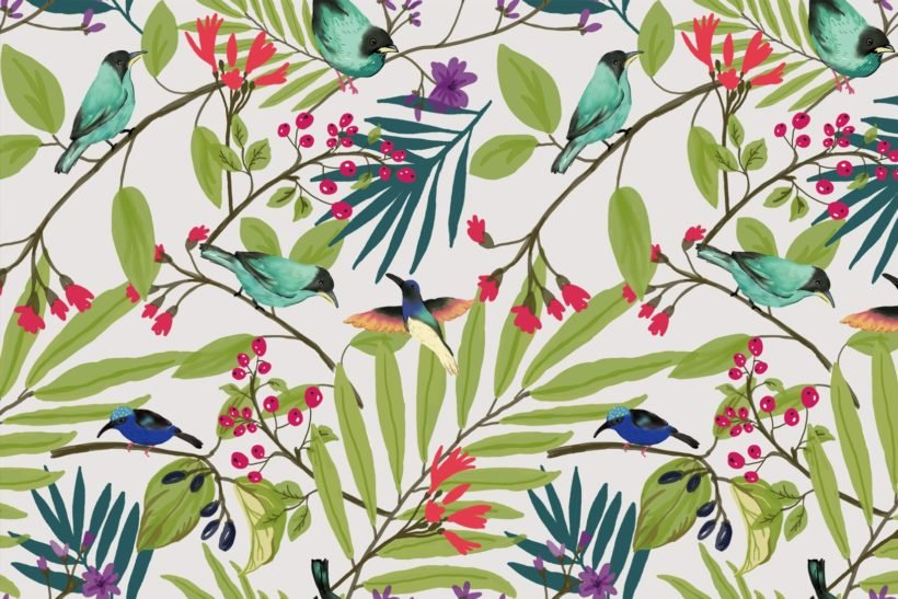 illustrated-birds-and-berries-mural-art-plain-1-wall-murals