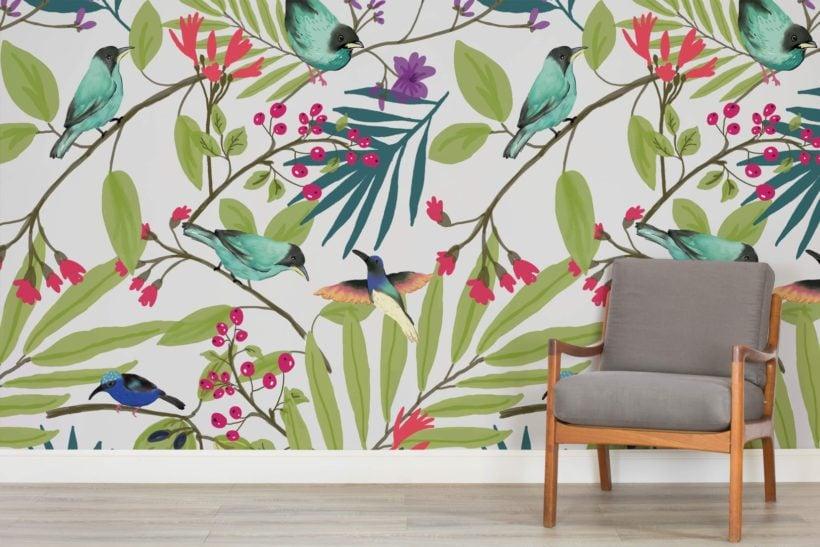 illustrated-birds-and-berries-mural-art-room-1-wall-murals