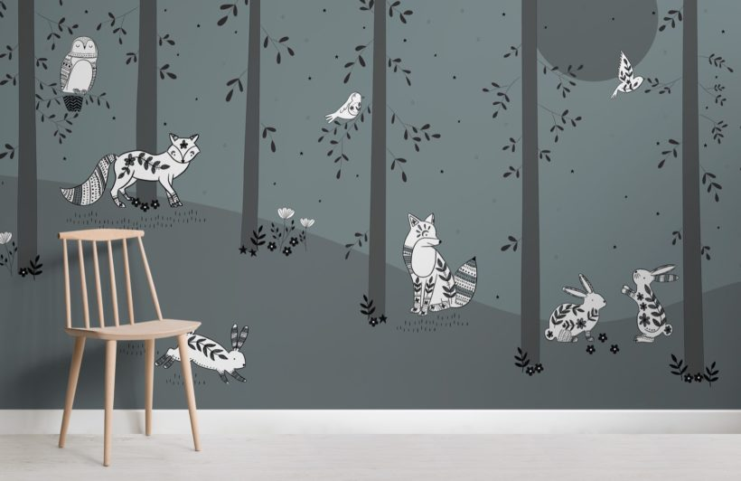 illustrated forest and animals children's wallpaper mural