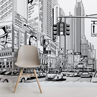 illustrated nyc black white cityscape wallpaper mural