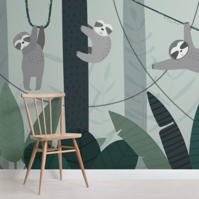 illustrated-sloth-rainforest-canopy-wallpaper-mural