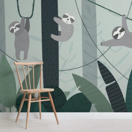 Cute Illustrated Sloth Wallpaper Mural Image