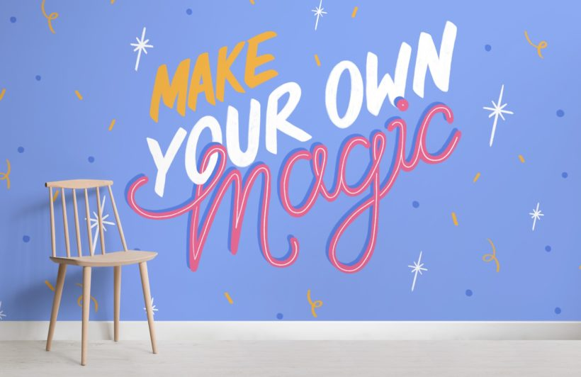 illustrated stars inspirational typography quote wallpaper mural