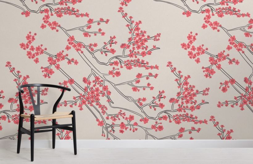 japanese cherry blossom pattern wallpaper mural