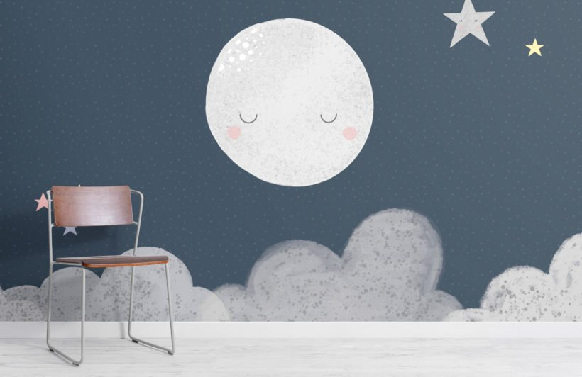 kids cute navy night sky moon wallpaper mural