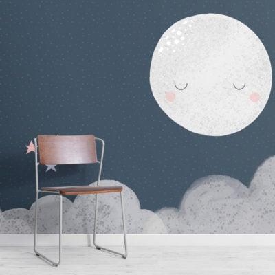 kids cute navy night sky moon wallpaper mural