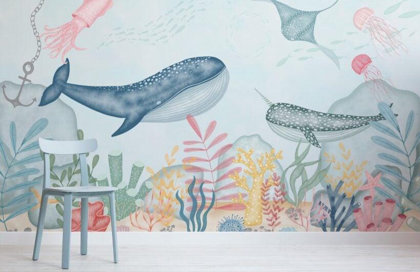 kids-underwater-ocean-scene-watercolour-wallpaper-mural