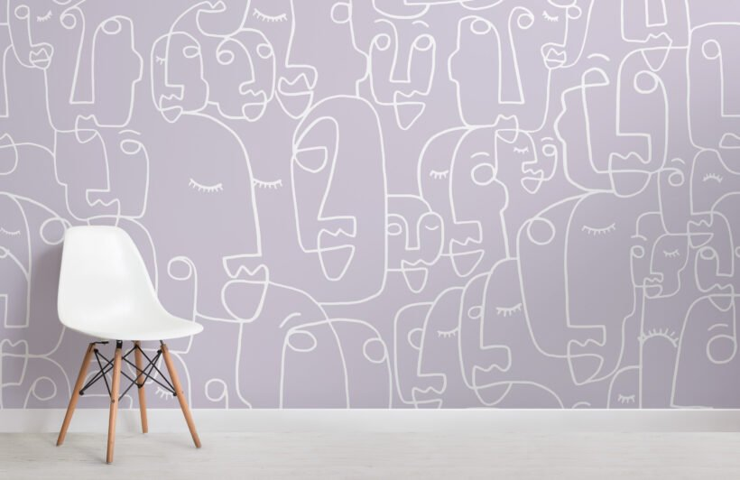large-lilac-face-line-drawing-wallpaper-mural