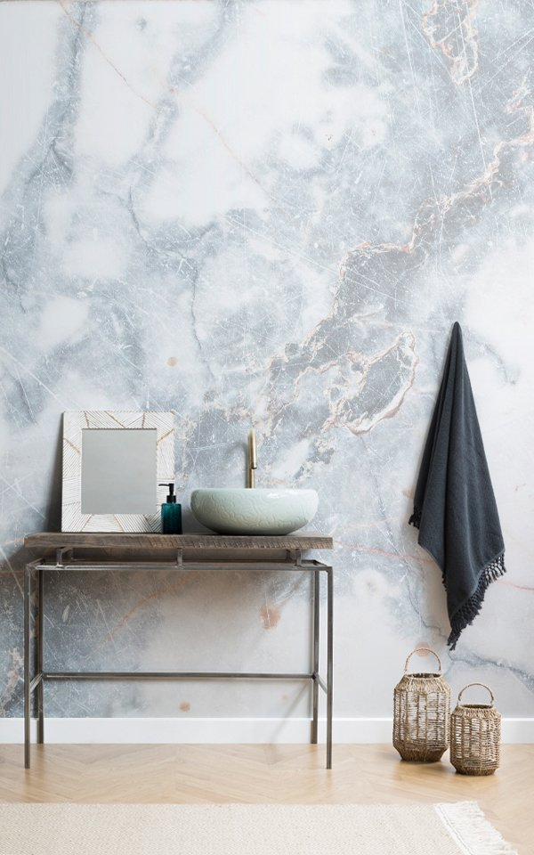 Deep Blue Clouded Marble Wallpaper Mural Image