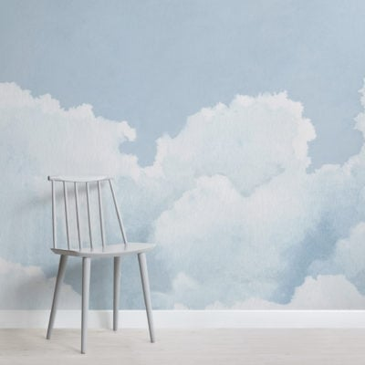 light blue cloudy sky watercolour wallpaper mural