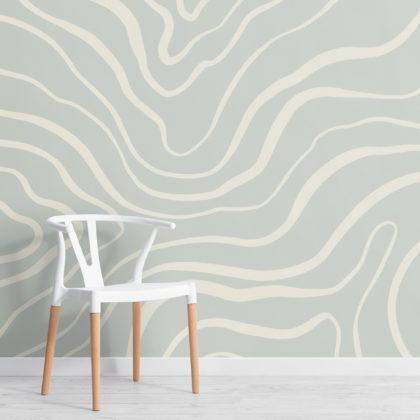 Light Blue Modern Abstract Lines Wallpaper Mural Image