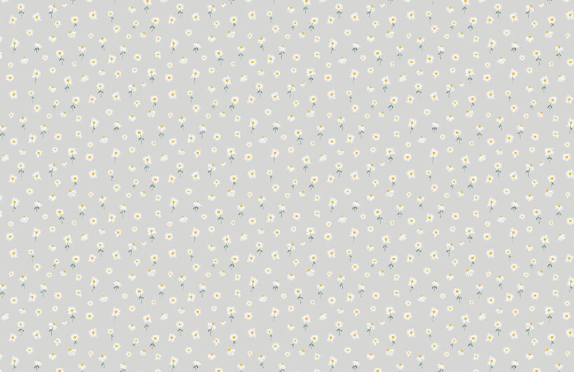 light grey painted daisy repeat pattern wallpaper
