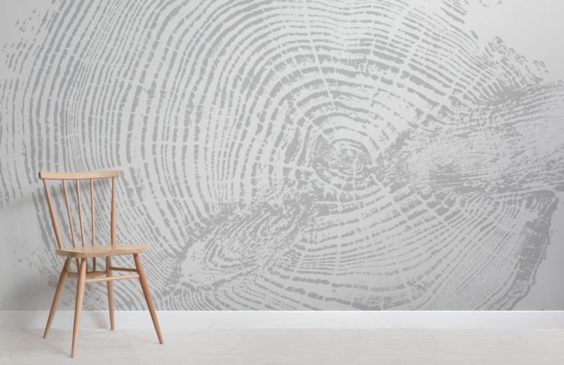 light grey scandinavian wood print wallpaper mural