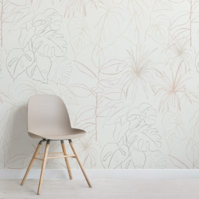 light pastel inky tropical pattern wallpaper mural