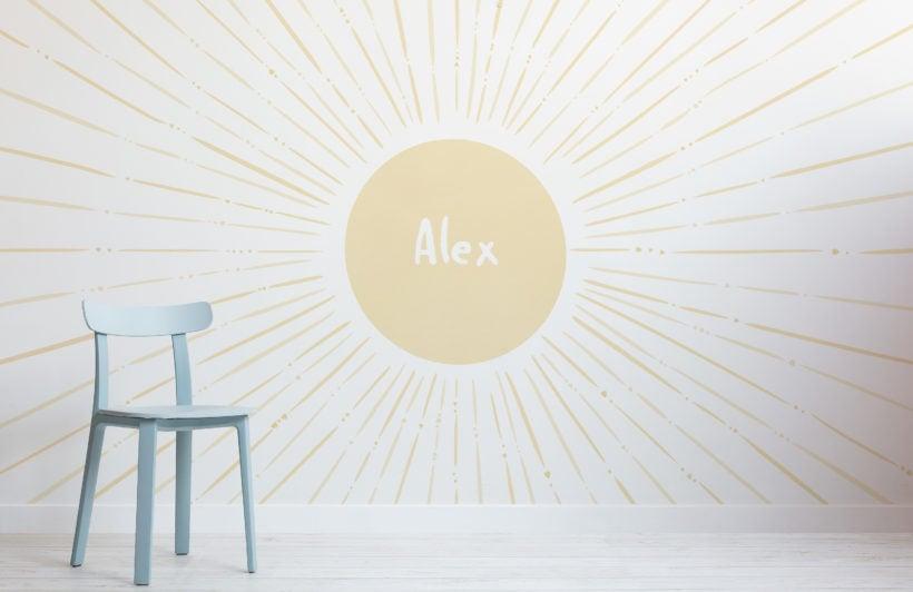 light-yellow-sun-personalised-name-kids-wallpaper-mural-Room