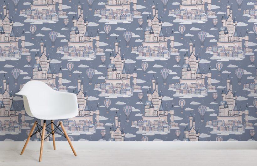 lilac princess palace fairytale pattern wallpaper mural