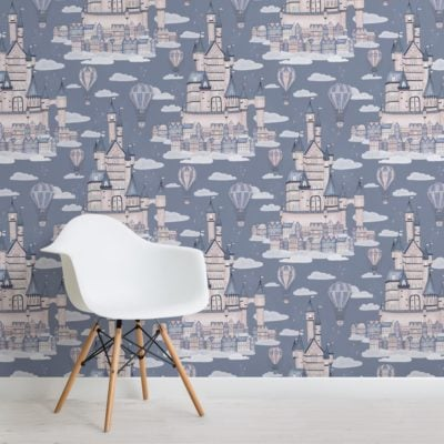 lilac princess palace fairytale pattern wallpaper mural
