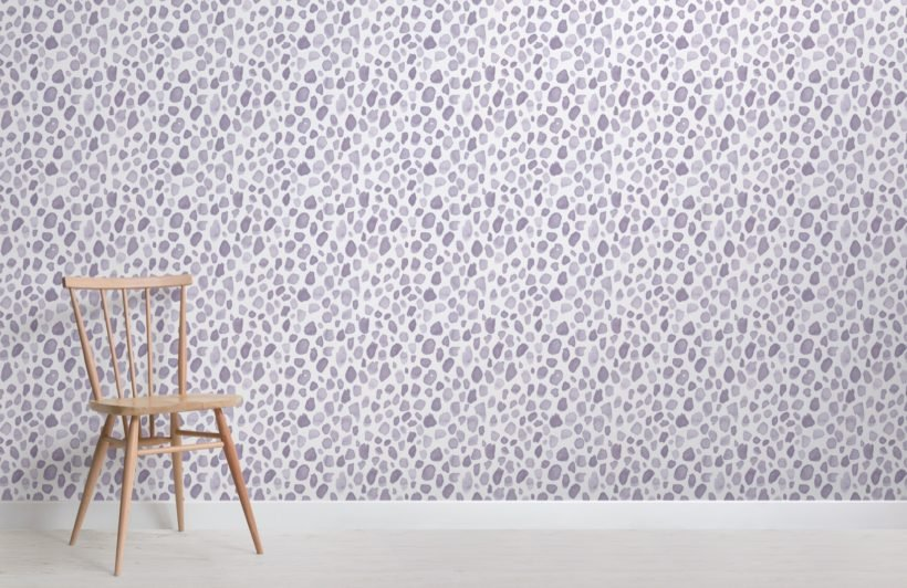 lilac watercolor paint spot pattern wallpaper mural