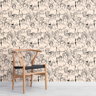 line-drawing-ancient-greece-statue-repeat-pattern-wallpaper