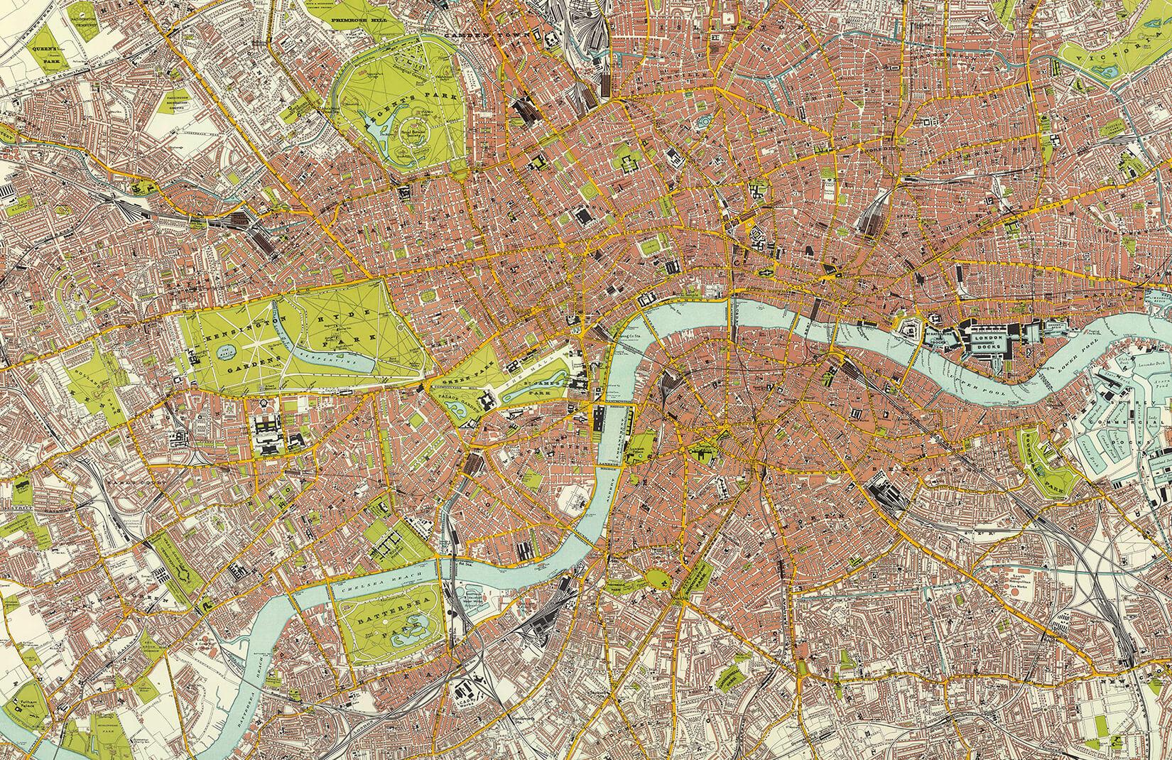Londra Cartina.Carta Da Parati Mappa Citta Di Londra Vintage Hovia It