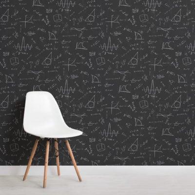maths & physics chalkboard stem pattern wallpaper mural