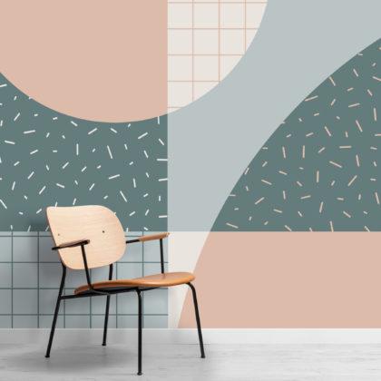 Memphis 80s Pastel Blue & Pink Geometric Wallpaper Mural Image
