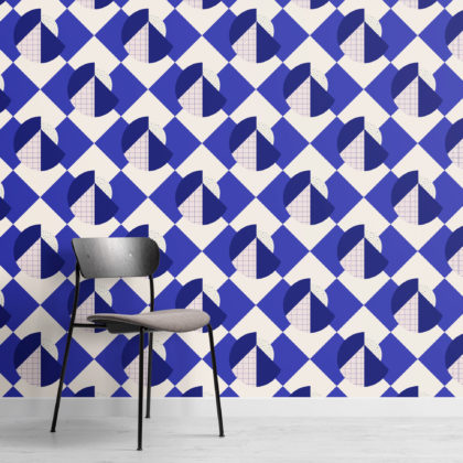 Memphis Blue & Pink Geometric Repeat Pattern Wallpaper Image