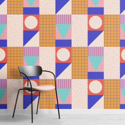 memphis colourful geometric repeat pattern wallpaper