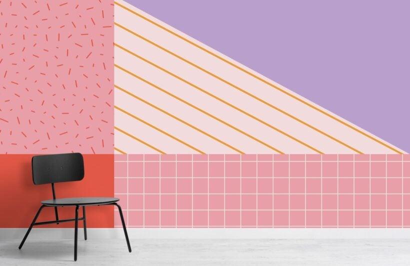 memphis-style-pastel-geometric-wallpaper-mural-Room
